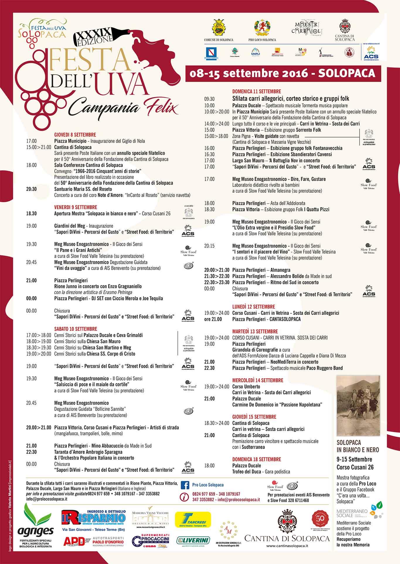 Programma Festa dell'Uva 2016