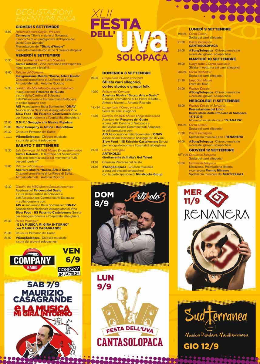 Programma Festa dell'Uva 2019 Solopaca